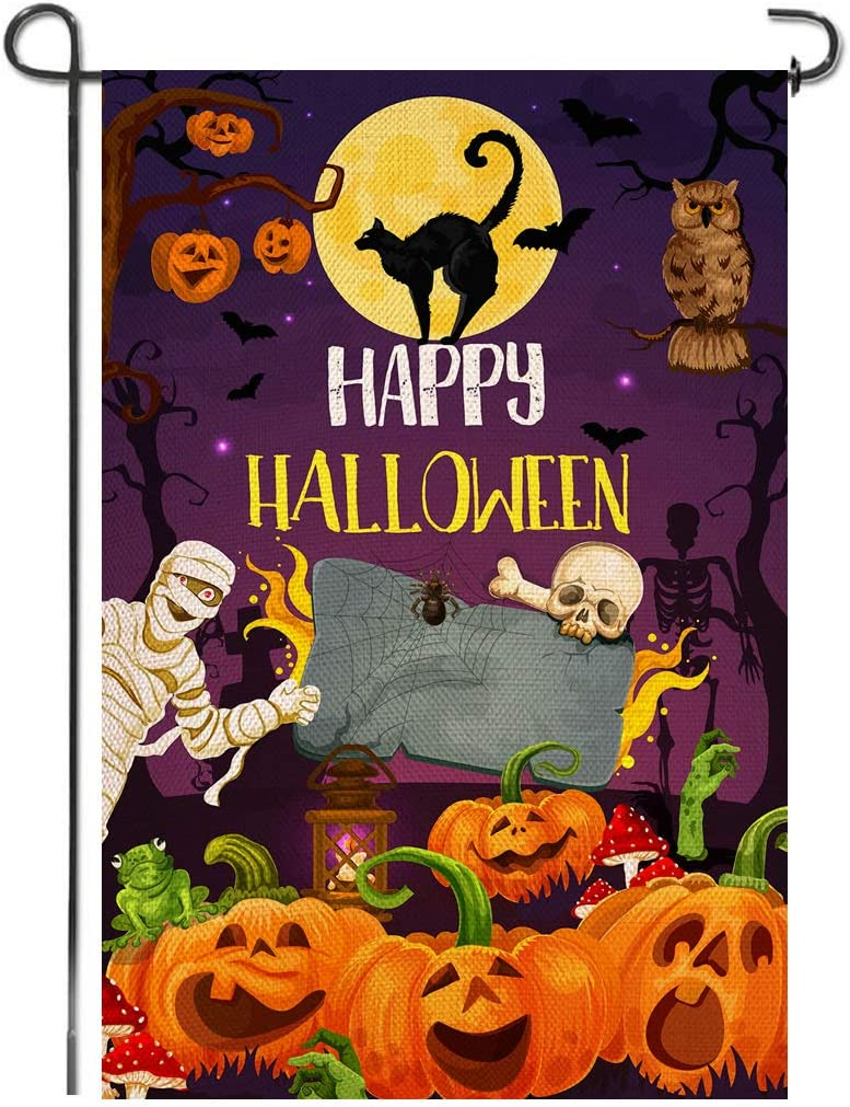 Shmbada Happy Welcome Halloween Burlap Garden Flag, Double Sided Premium Material, Cat Zombie Pumpkins Decor Outdoor Fall Banner Decorative Small Flags for Yard Lawn Patio Farmhouse, 12.5 x 18.5 inch