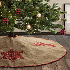 Meriwoods Burlap Christmas Tree Skirt 48 Inch, Large Natural Jute Tree Collar with Buffalo Plaid Snowflake Reindeer, Country Rustic Indoor Xmas Decorations