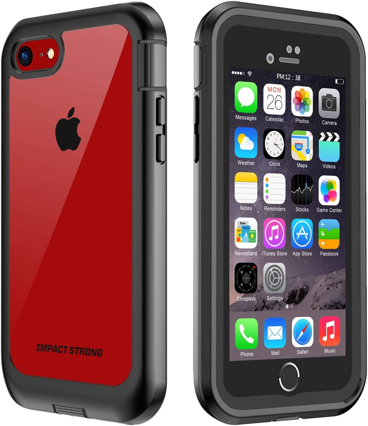 ImpactStrong iPhone 7/8 Clear Case, Ultra Protective Transparent Cover with Built-in Screen Protector Full Body Transparent Clear Cover for iPhone 7 2016 /iPhone 8 2017 (Black/Clear)