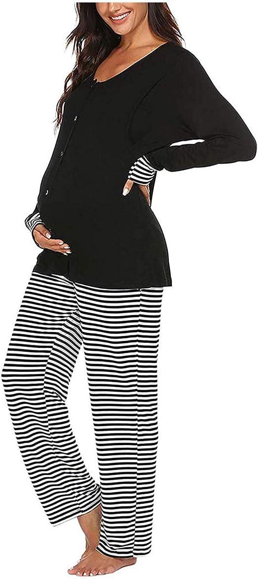 Urkutoba Maternity Nursing Pajama Set Long Sleeve Sleepwear Breastfeeding Hospital Pregnancy Loungewear With Adjustable Pants At Amazon Women S Clothing Store