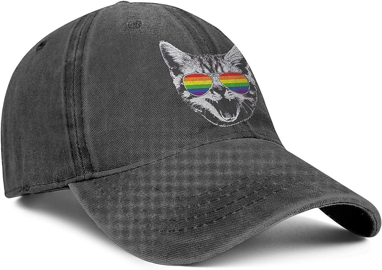 Gay Pride Rainbow Flag Cat Unisex Baseball Cap Summer Running Hats Adjustable Trucker Caps Dad-Hat