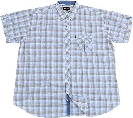 Kamro Camisa De Manga Corta Para Hombre Tallas Grandes A Cuadros 5xl 12xl Color Beige Y Blanco Amazon Es Ropa Y Accesorios