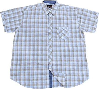 KAMRO - Camisa de manga corta para hombre, tallas grandes, a ...