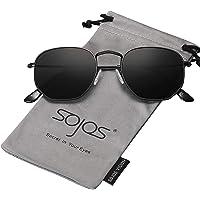 SojoS Lentes de sol Polarizado Unisex Hombre Mujer Pequeño Clásico Cuadrado Vintage UV400 Protección SJ1072