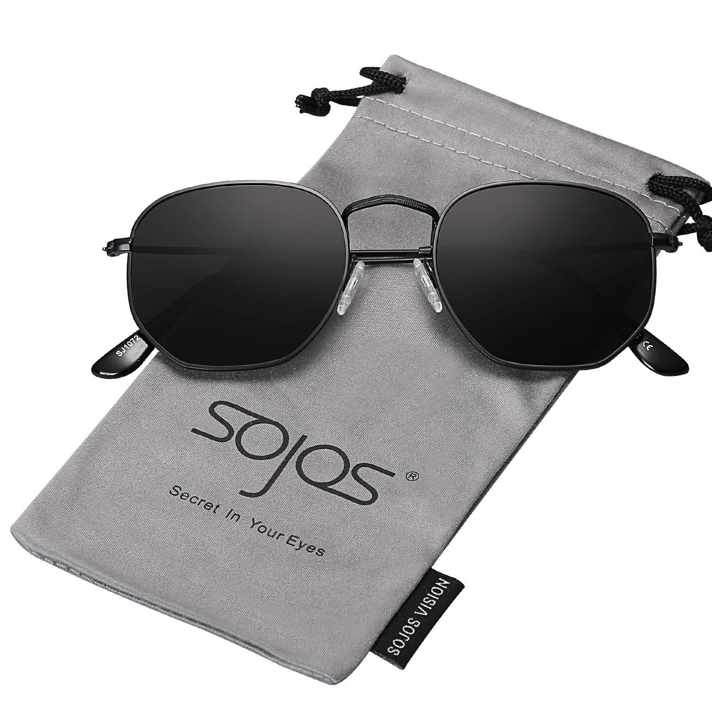 c344e9dd223bd Amazon.com  SOJOS Small Square Polarized Sunglasses for Men and Women  Polygon Mirrored Lens SJ1072 with Black Frame Grey Polarized Lens  Clothing