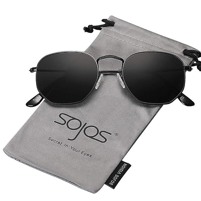 978ee66ed4 SOJOS Clásico Polígono Espejo Lentes UV Portección Unisex Gafas de Sol  Polarizado SJ1072 Marco Negro/Lente Gris: Amazon.es: Ropa y accesorios