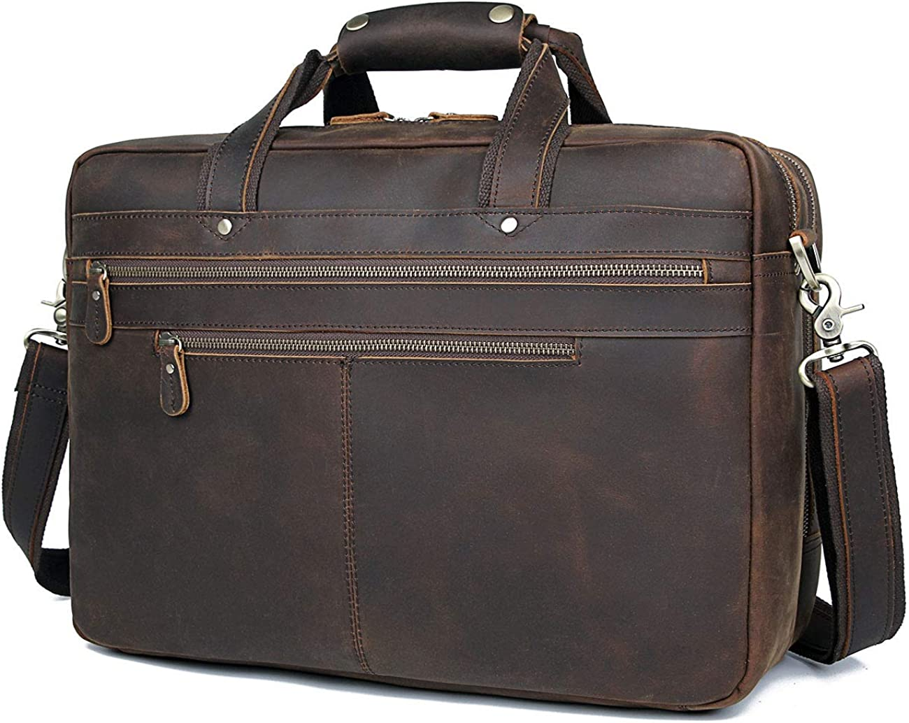 "Polare Soft Leather 17"" Laptop Case Professional Briefcase Business Bag For Men"
