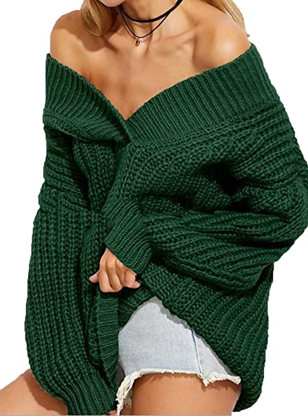 Wofupowga Women s Oversized Long Sleeve Jumper Knit V-Neck Off-Shoulder  Sweater Army Green One-Size at Amazon Women s Clothing store  6ab144b1b