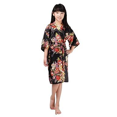 12b519403b Amazon.com  Girls Stain Kimono Flower Robe Bathrobe Nightwear for Spa  Wedding Dressing Gown  Clothing