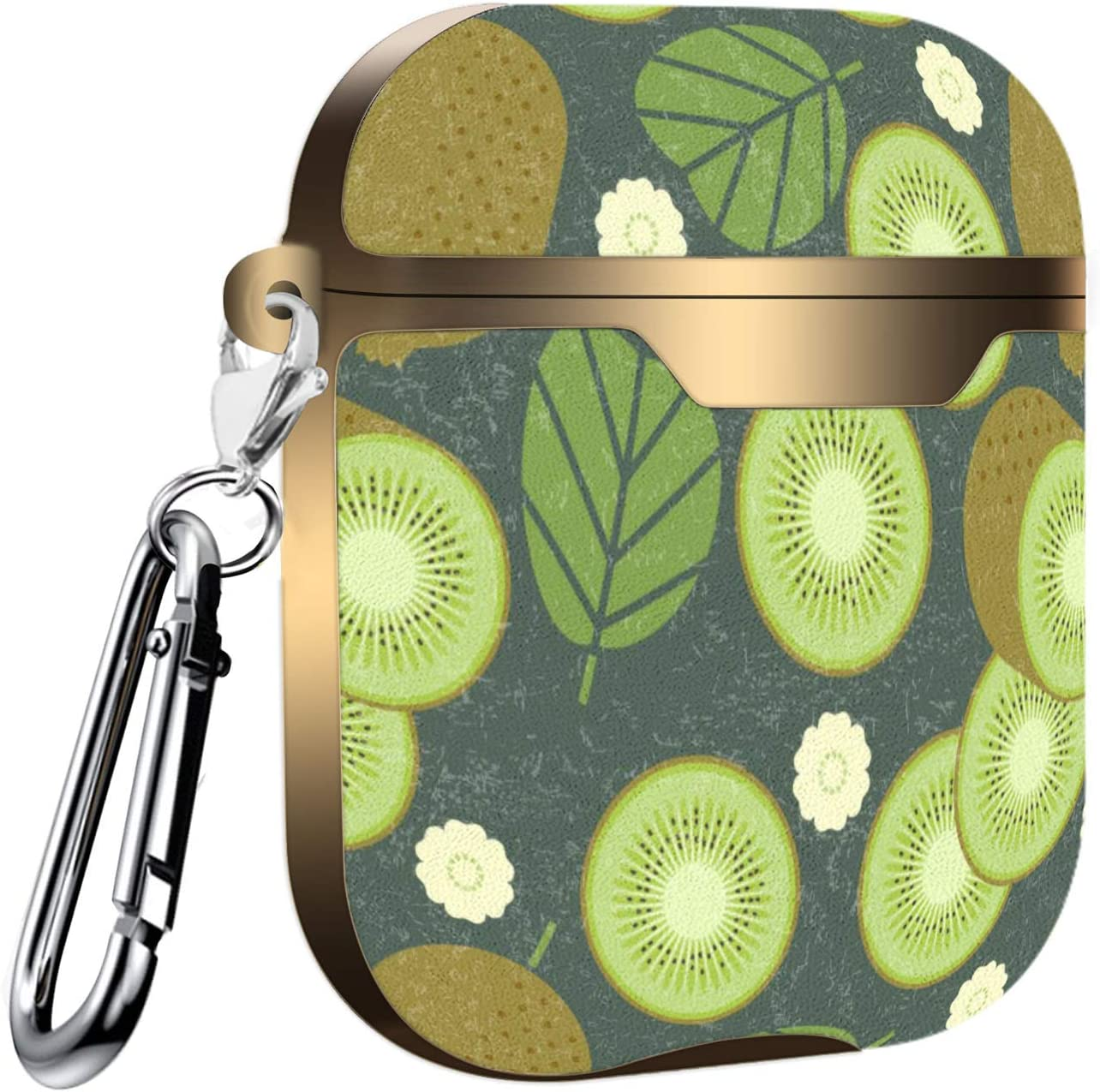 Slim Form Fitted Printing Pattern Cover Case with Carabiner Compatible with Airpods 1 and AirPods 2 Pattern with Kiwi Fruit
