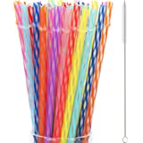 50 Pieces Reusable Drinking Straw Thick Plastic Straws with Cleaning Brush Straw Cleaner (11 Inch, Multi Color 2)
