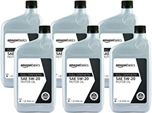 AmazonBasics Full Synthetic Motor Oil, SN Plus, 5W-20, 1 Quart, 6 Pack