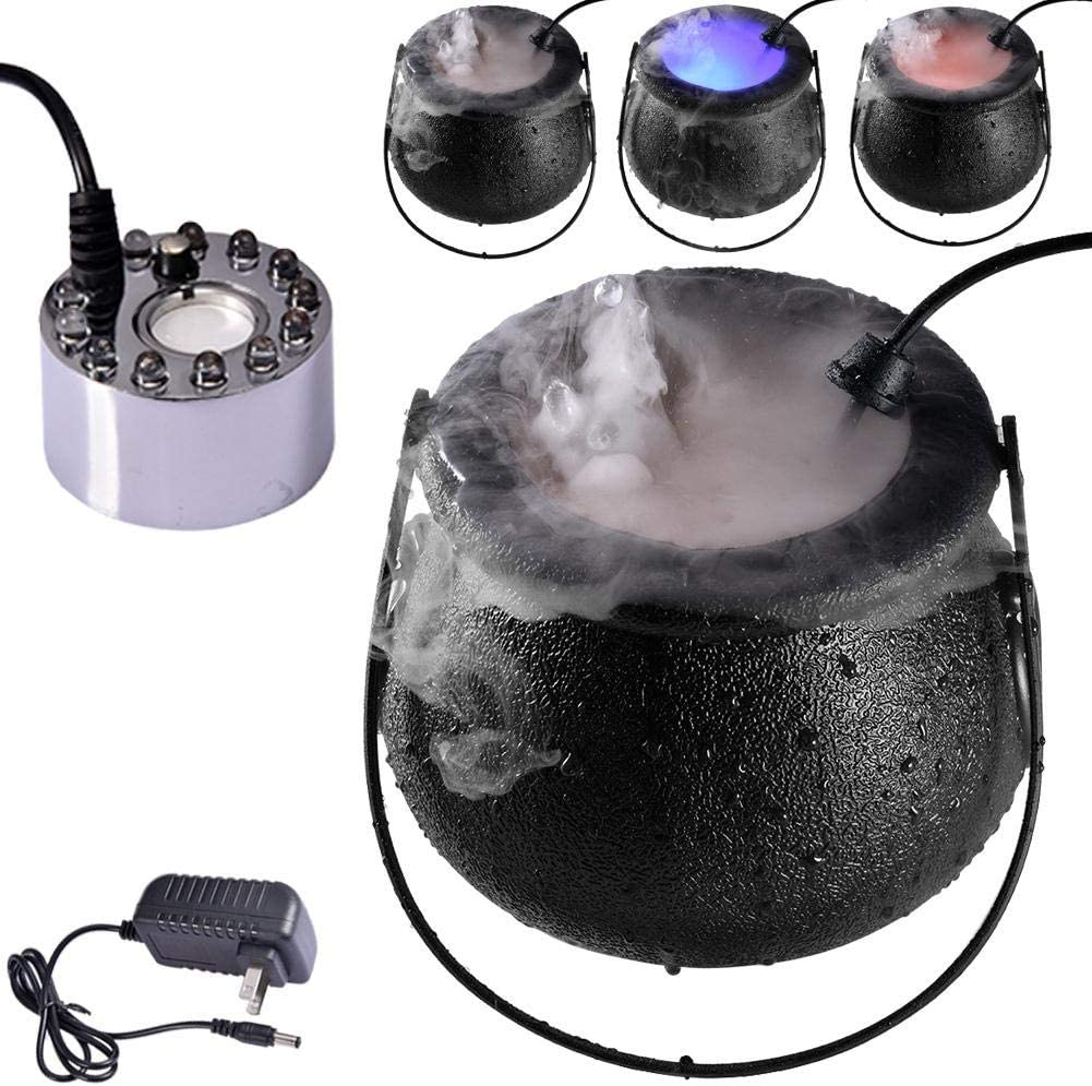 N//D 2020 Halloween Mist Maker Fogger,Halloween Party Mist Maker Fogger Water Fountain Pond Fog Machine with 12 Color Changing LED Light Halloween Party Prop Decorations