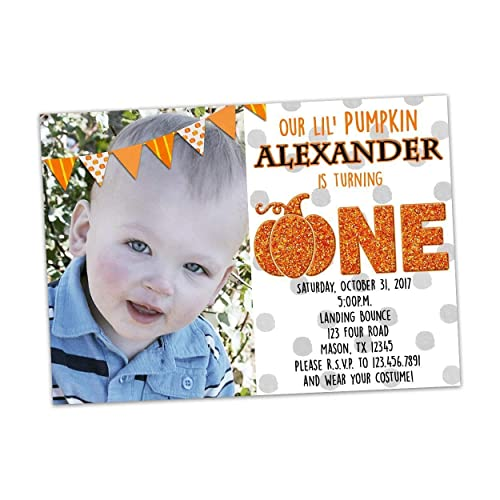 Image Unavailable Not Available For Color Pumpkin First Birthday Invitation Photo Halloween