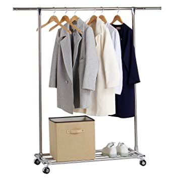 Lifewit Commercial Grade Clothes Rack Rolling Single Rod Garment Rack With  Shelf, Stainless Steel