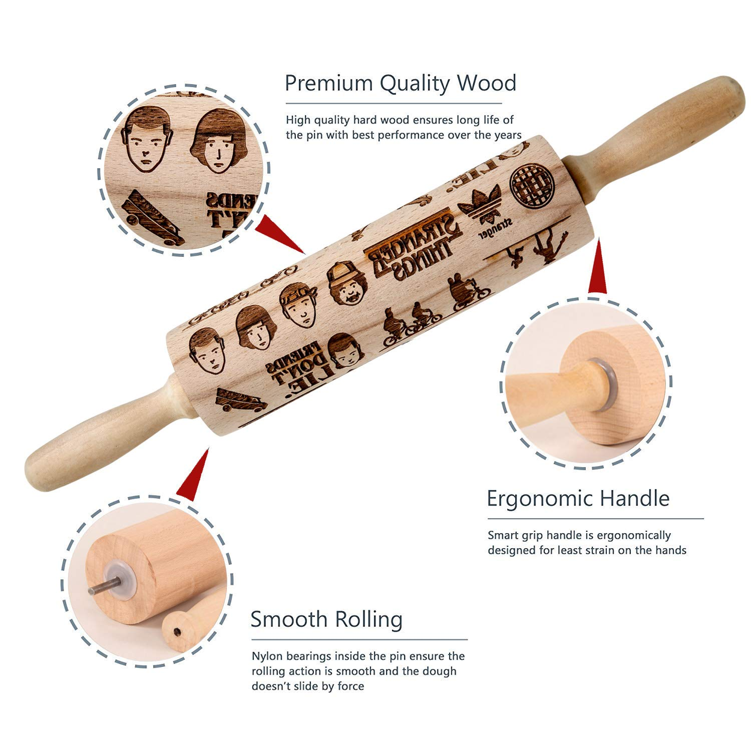 Kitchen Cookies for Bakers Famgem Baking Rolling Pins for Kids Children Embossed with Pattern Stranger Designs Engraved Carved Beech Wood Roll Pin