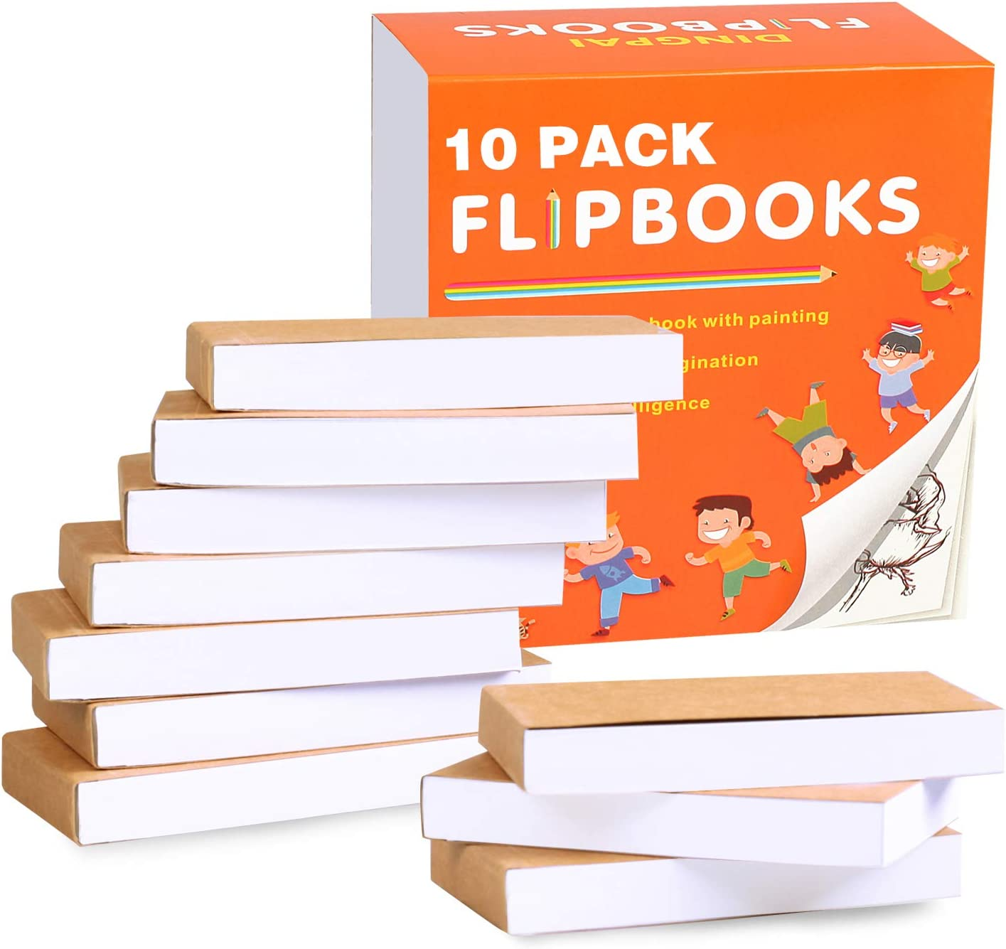 """DINGPAI Blank Flipbooks (Flip Book) 10 Pack for Animation, Sketching, and Cartoon Creation, 4.5"""" x 2.5"""", 160 Pages (80 Sheets), No Bleed Drawing Paper with Sewn Binding, Creative Craft for Kids: Arts, Crafts & Sewing"""