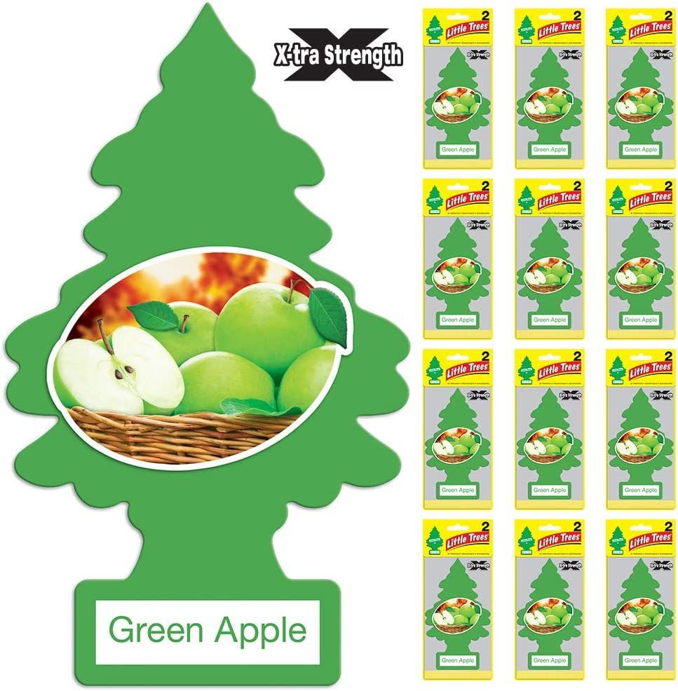 LITTLE TREES Car Air Freshener | X-tra Strength Provides Long-Lasting Scent for Auto or Home | Extra Boost of Fragrance | Green Apple, 24 count, (12) 2-Packs