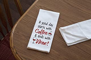 product image for Imagine Design Relatively Funny A Good Day Starts with Coffee, Heavy Weight 100% Cotton Kitchen Towel, One Size, Red/Black/White