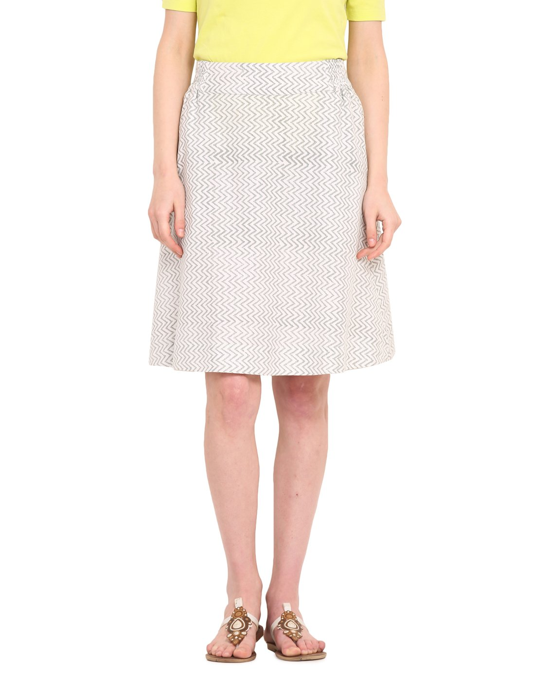 Saiesta Women's Eye Zig-Zag Hand Woven Relaxed Fit A-Line Skirt In Block Print