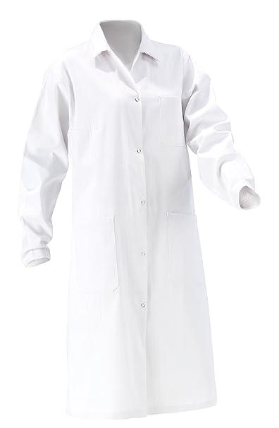 Mujer Bata 2TE Elección de algodón 100%, Color Blanco Abrigo Bata de Laboratorio, Adecuado para Estudiar//Escuela En el Laboratorio de Trabajo, con Botones: ...