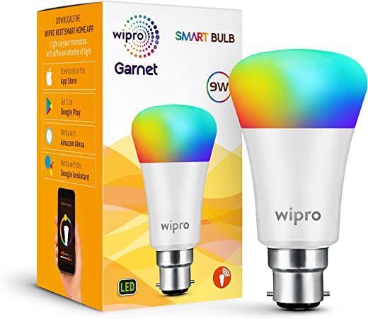 wipro Wi-Fi Enabled Smart LED Bulb B22 9-Watt (16 Million Colors + Warm White/Neutral White/White) (Compatible with Amazon Alexa and...