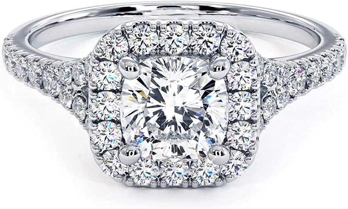 1.00 Carat (ctw) Diamond Engagement Ring for Women in 14K White Gold (Color: G-H, Clarity: I1-I2)