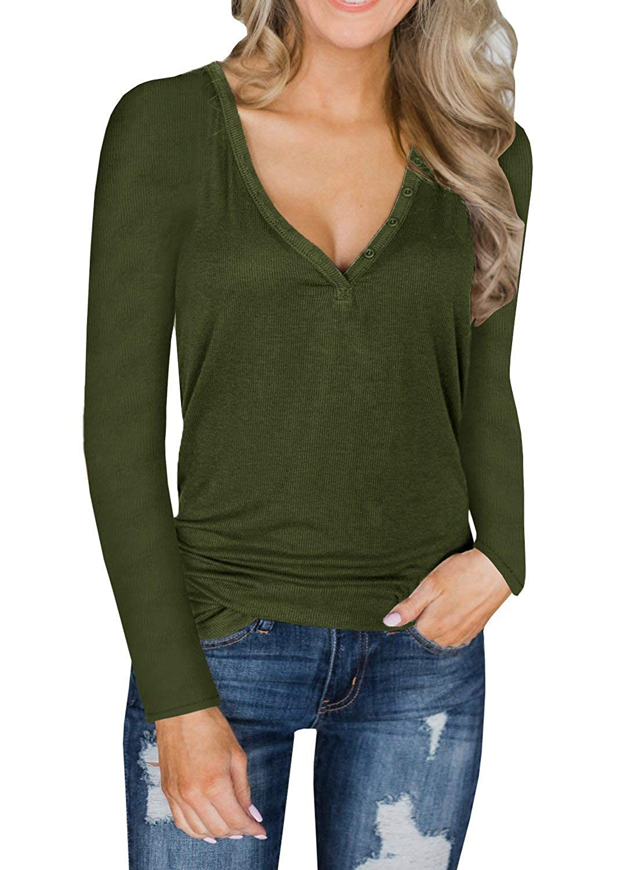 ShallGood Damen Pulli Langarm T-Shirt V-Ausschnitt Lose Bluse Langarmshirts Hemd Pullover Casual Wrap Front Sweatshirt Oberteil Basic Tops Shirts