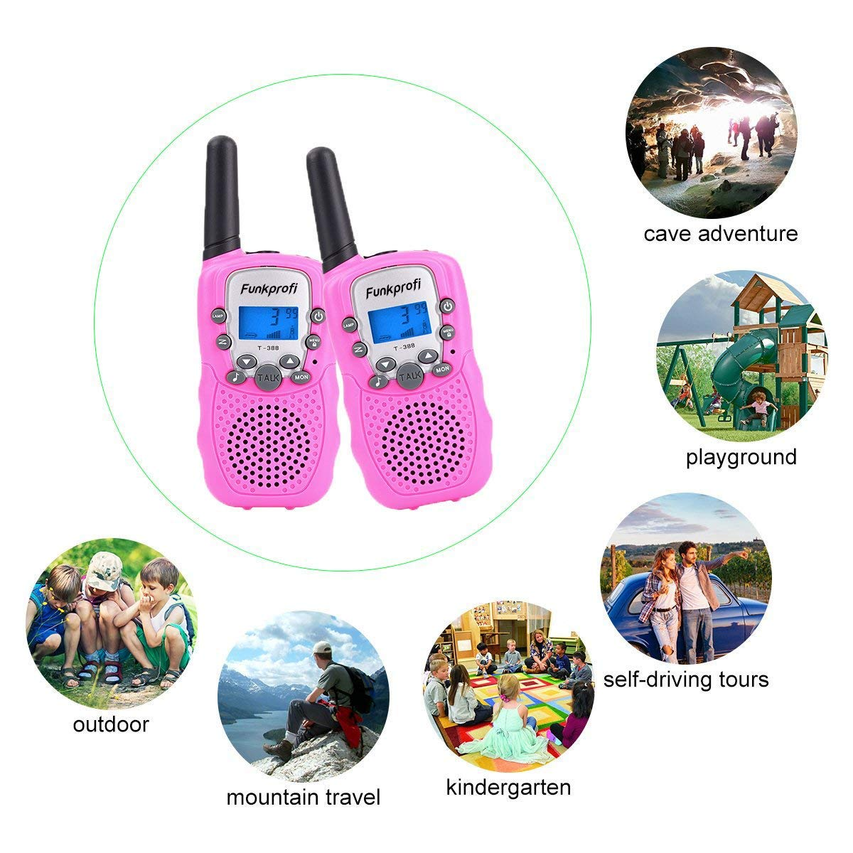 Funkprofi Walkie Talkies for Kids 22 Channels Long Range Rechargeable Walkie Talkies with Battery and Charger, Gift for Boys and Girls, 1 Pair (Pink) by Funkprofi (Image #5)