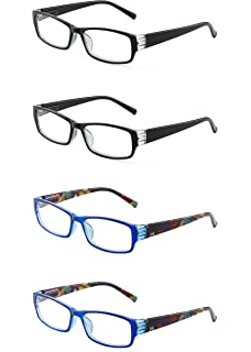 d69f69f27a JM 4 Pack Ladies Reading Glasses Spring Hinge Fashion Pattern Readers for  Women