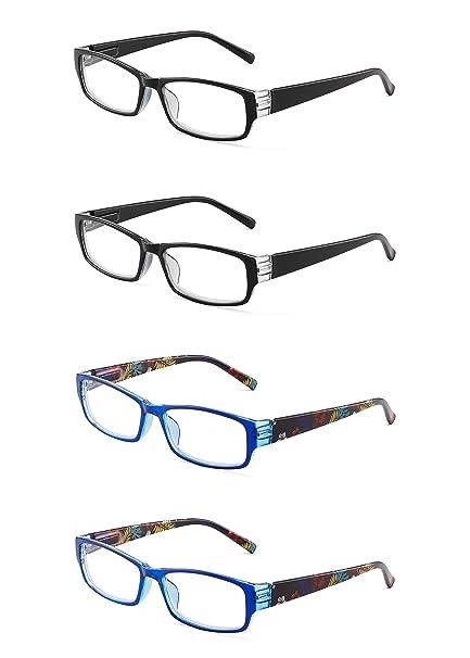 c73ee79df3 JM 4 Paquete Señoras Gafas de Lectura Bisagras de Resorte de Moda Patrón  Lectores Para Mujer