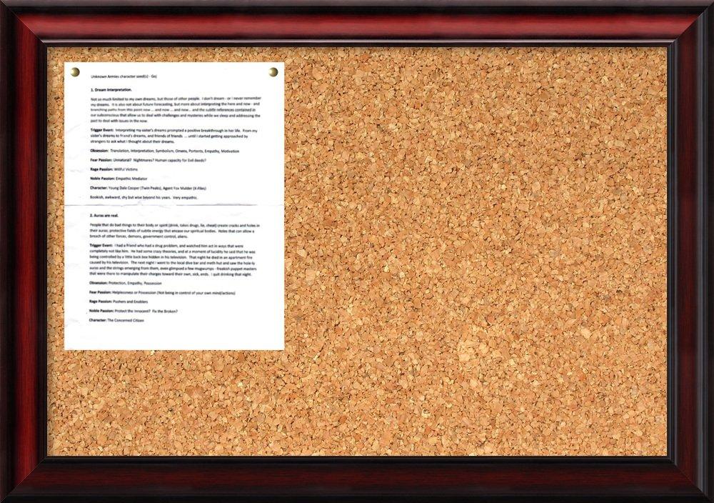 Amanti Art Framed Cork Board Medium, Rubino Cherry Wood: Outer Size 27 x 19''