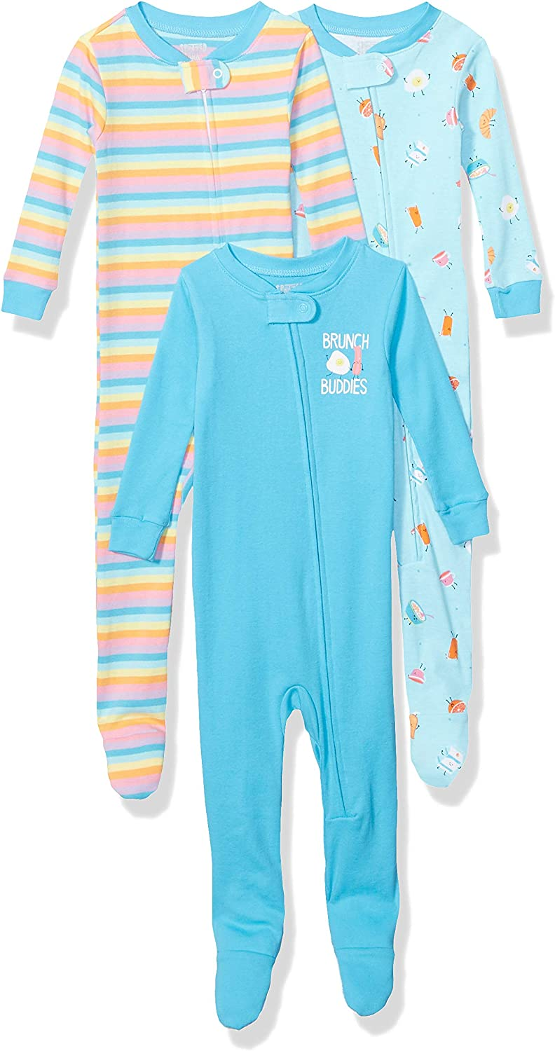 Spotted Zebra Unisex Baby 3-Pack Snug-fit Cotton Footed Sleeper Pajamas Brand