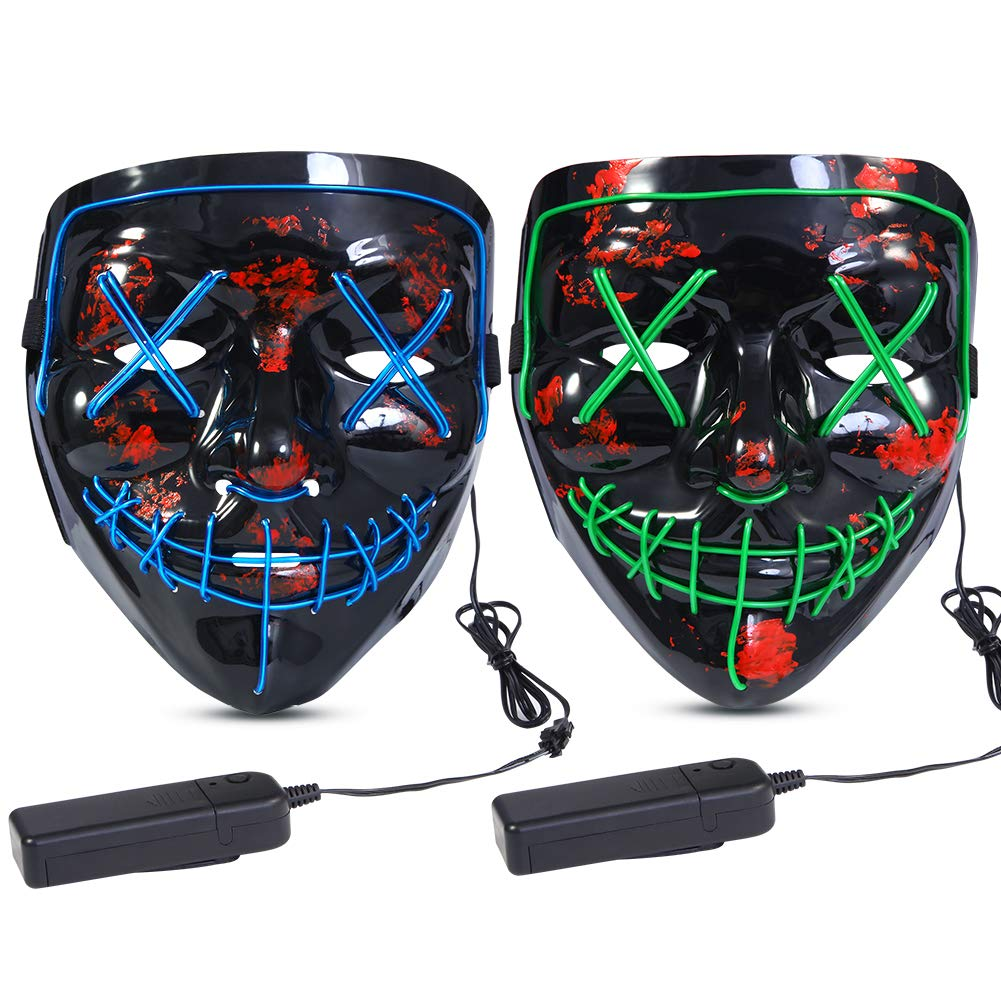 Halloween Scary Mask LED Mask LED Purge Mask [2PACK] LED Light Up Mask EL Wire Light Up for Festival Cosplay Halloween Costume Halloween Festival Party. Green Blue by Lumiparty