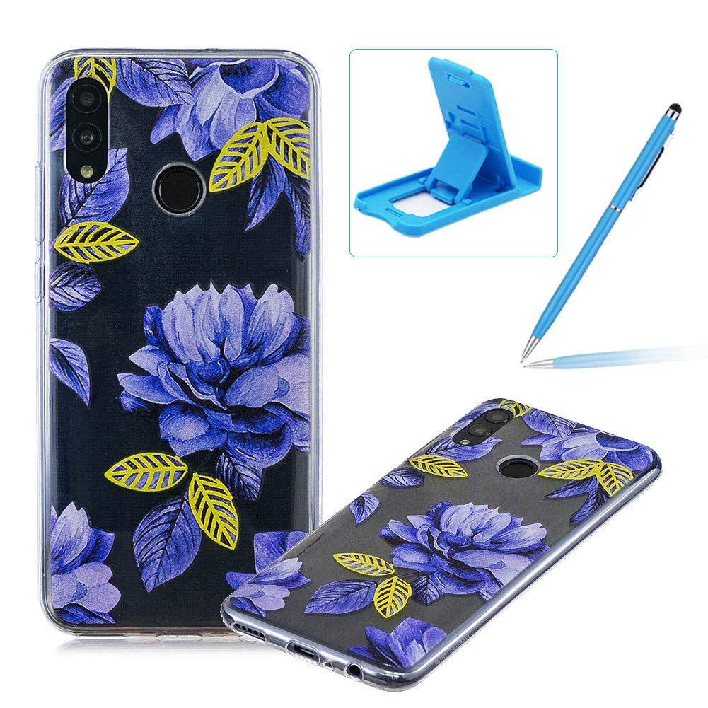 Rubber Case for Huawei Honor 10 Lite,Herzzer Premium Stylish [Blue Flower Printed] Scratch Resistant Ultra Thin Soft Gel Silicone Transparent Clear Crystal Slim Fit TPU Back Cover