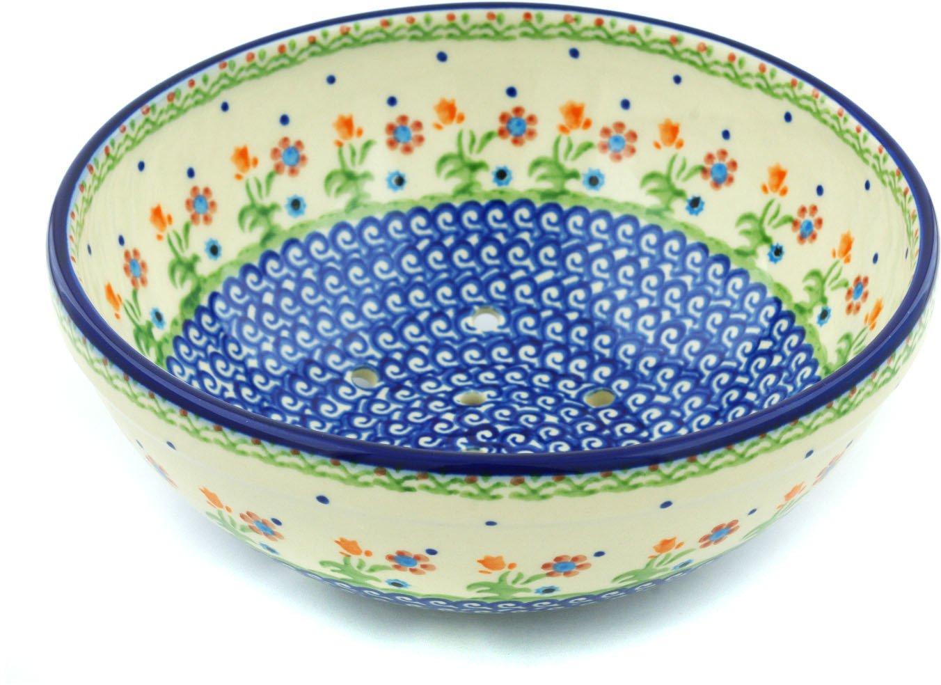 Polish Pottery Colander 9-inch Spring Flowers
