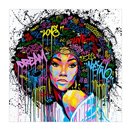 f4bfe3699cc Amazon.com  GUAngqi Women Unframed Canvas Printing Wall Decor Painting Art  Canvas African American Wall Art  Posters   Prints