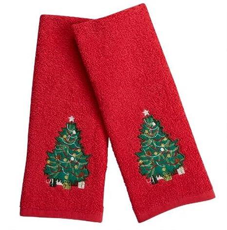 Rojo árbol de Navidad bordado toallas de mano, 2-pack