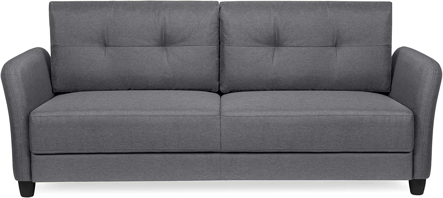 Amazon.com: Best Choice Products 76 Inch Linen Fabric Upholstered Contemporary Sofa Couch Lounger, Dark Gray: Furniture & Decor