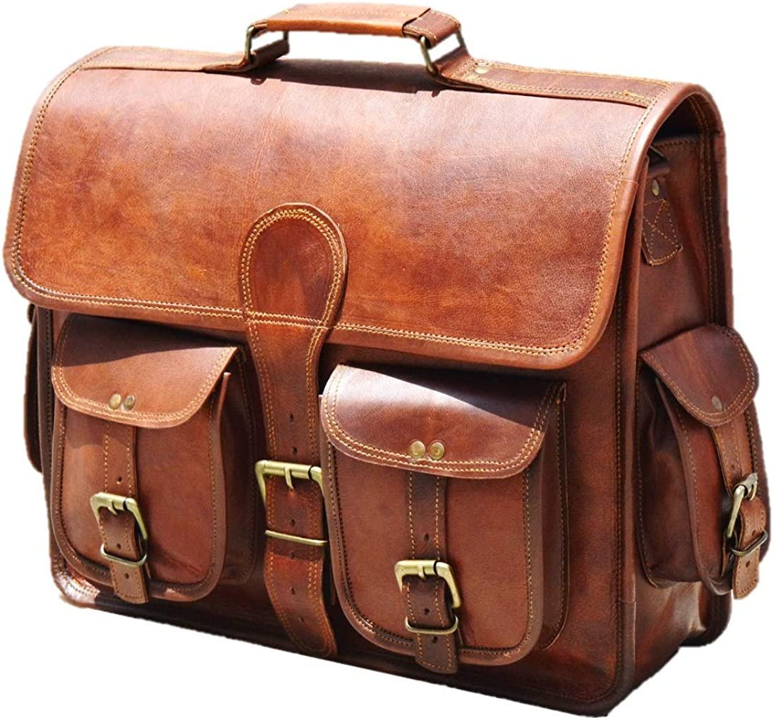 Urban Dezire 16 Inch Leather Messenger bag Shoulder Men Laptop Briefcase Vintage Satchel
