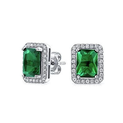 22e3db177 Amazon.com: 3.5 CT Emerald Cut Green Cubic Zirconia Simulated Emerald CZ  Halo Stud Earring For Women Rhodium Sterling Silver: Bling Jewelry Green:  Jewelry