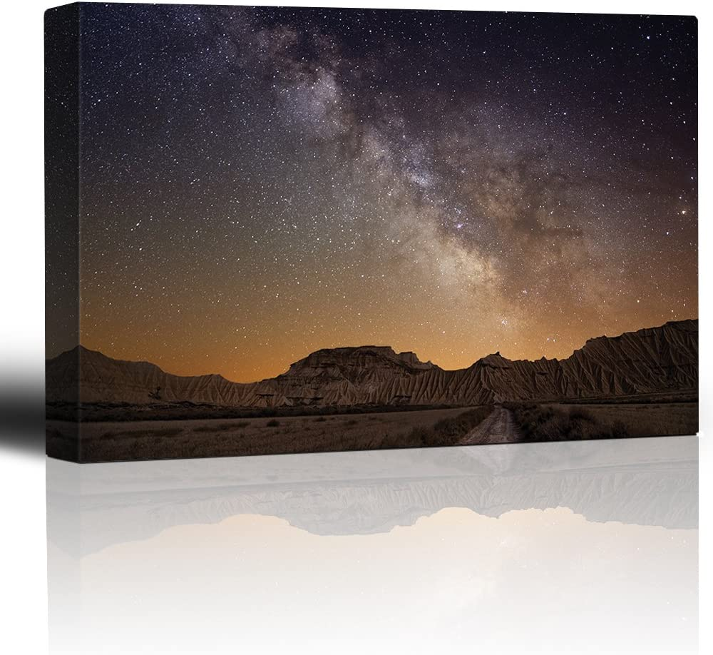 Road Leading to The Mountains with a Starry Galaxy Behind Them - Canvas Art Home Art - 12x18 inches
