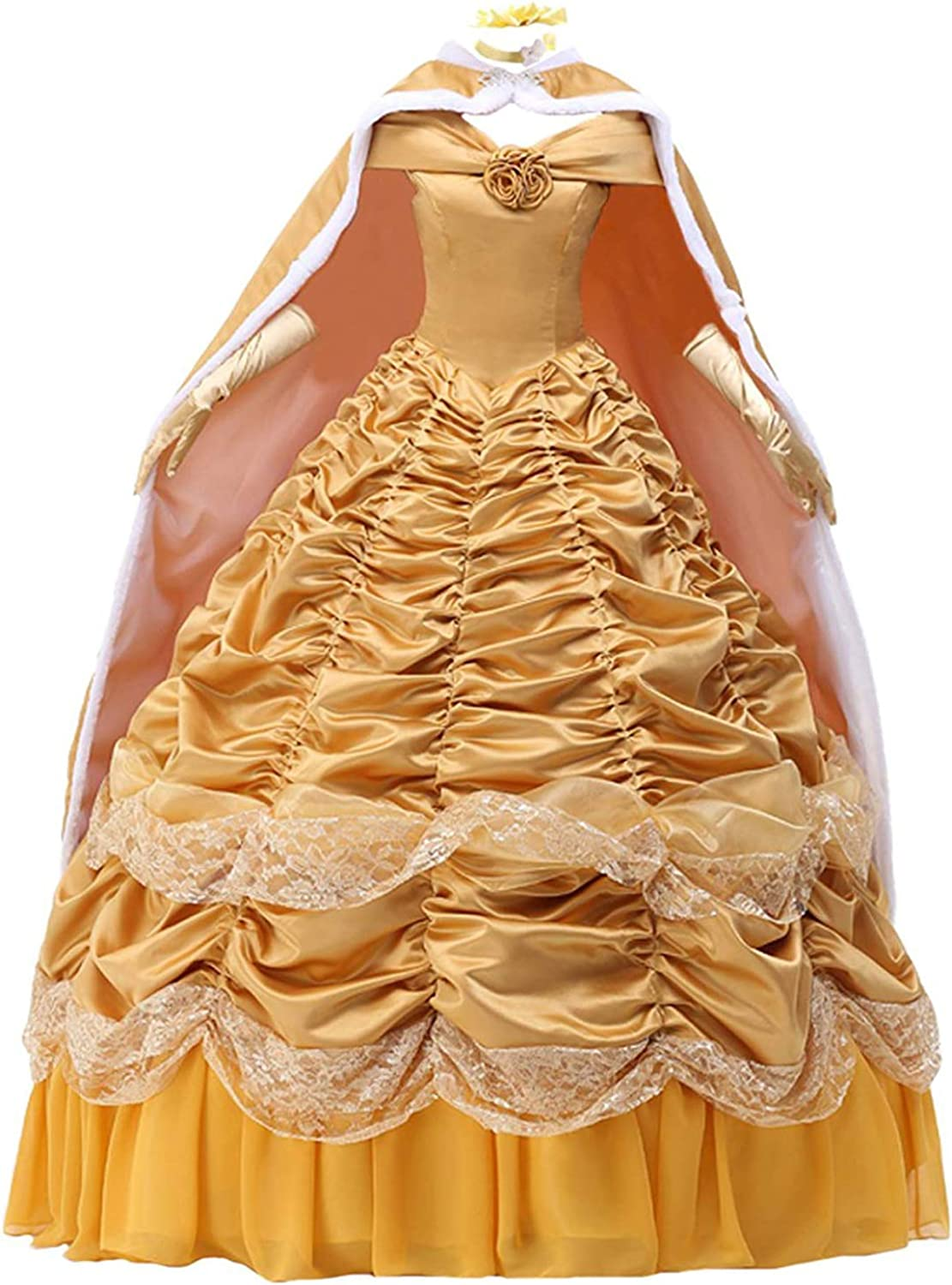 Womens Princess Belle Dress Long Prom Ball Gown Costume Cape Gloves  Petticoat