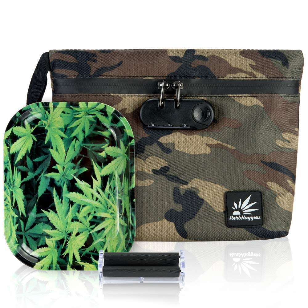 Locking Smell Proof Bag   Full Active Carbon Lined Stash Bag Featuring Sealed Zipper Enclosure w Interior Accessory Pouches + Metal Rolling Tray + Rolling Machine (Green Camo)