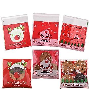 Gudotra 300pcs Bolsitas Caramelos Plástico Celofán Autoadhesivas Bolsas Galletas para Regalo Dulces Fiesta Navidad Cumpleaños(10×10cm) (Estilo-2)