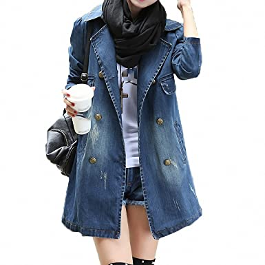 Womens Denim Jacket Coats Turn-Down Collar Long Sleeve Vintage Loose Jeans Blue S