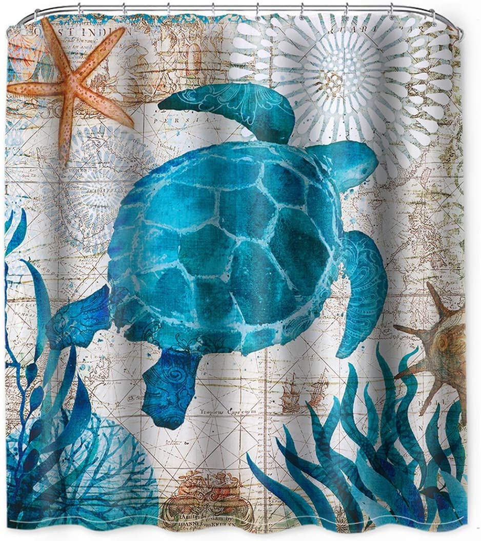 "Fabric Shower Curtain Sea Turtle, Beach Theme Shower Curtain Ocean Animal Sea Shower Curtains, 71"" x 71"", Waterproof Washable Cloth Non Toxic Eco-Friendly Sea Turtle Bathroom Decor with 12 Hooks"