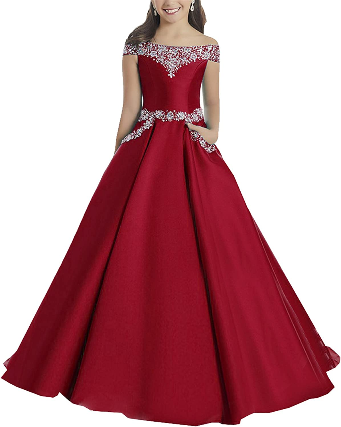 Yang Princess Girls Boat Neck Beaded Evening Gowns Long Pageant Dresses