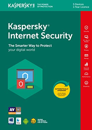 Kaspersky Internet Security 2019 | 5 Devices | 1 Year | PC/Mac/Android |  Download