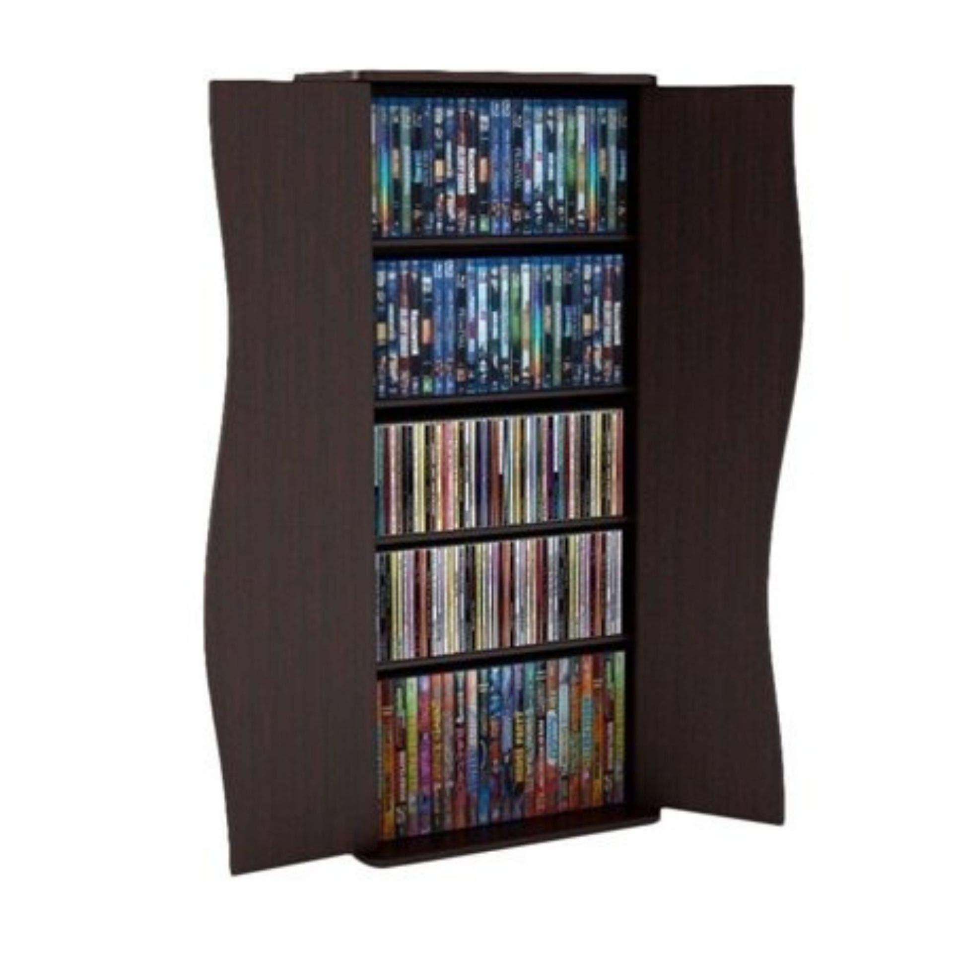 Atlantic 35'' Venus Small Media Storage Shelf & Cabinet (198 CDs, 88 DVDs, 180 BluRays), Espresso by Atlantic